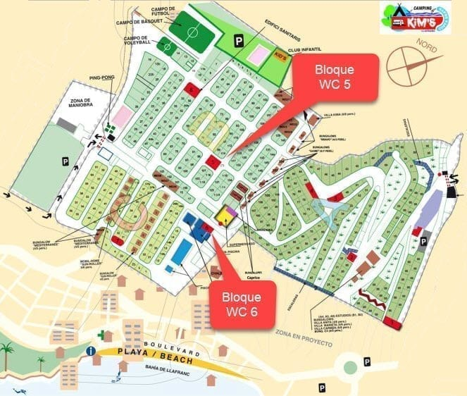 Reforma 2019 - Sanitary block for pool area - Kim's Camping - Location on map